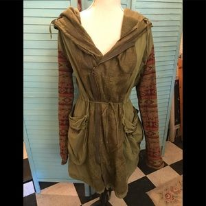 Free People khaki cargo coat